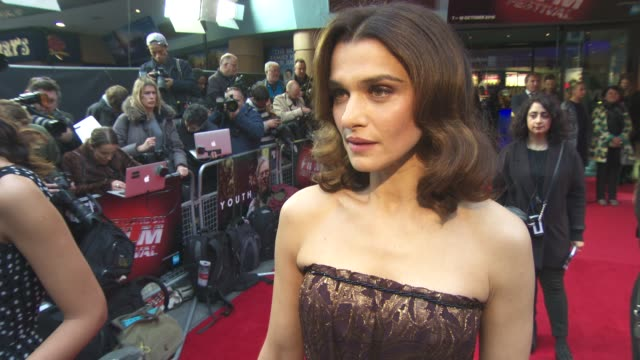 rachel weisz on working with michael caine and harvey keitel and the new james bind film at 'youth' gala bfi london film festival at vue leicester... - leicester square stock videos & royalty-free footage