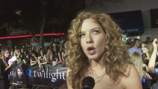 rachelle lefevre about the best part of being an evil vampire, on doing her own stunts, about being aware of how popular the books are, and hoping... - rachelle lefevre stock videos & royalty-free footage