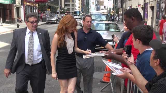 rachelle lefevre greets fans outside of the late show with david letterman - celebrity sightings in new york on july 28, 2014 in new york city. - rachelle lefevre stock videos & royalty-free footage