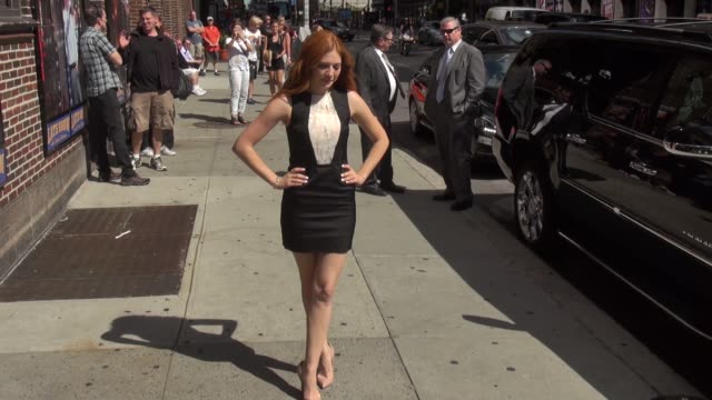 rachelle lefevre outside of the late show with david letterman - celebrity sightings in new york on july 28, 2014 in new york city. - talk show stock videos & royalty-free footage
