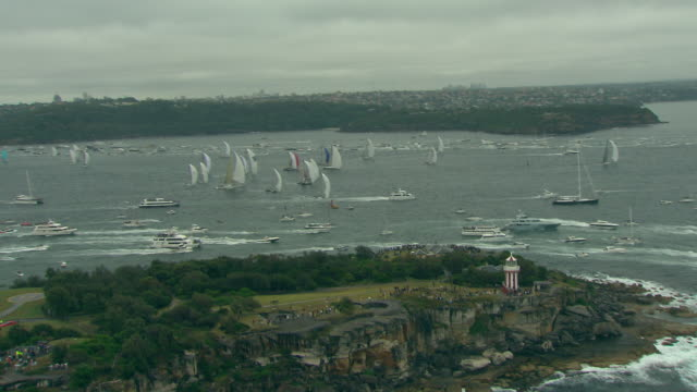 Racing boats including Brokenwood, the 54ft yacht sailed by Sailors with Disabilities in the 2009 Sydney to Hobart Yacht Race. Skippered by David Pescud, Sydney, Australia