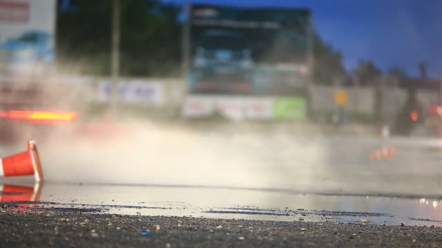 racing car starting the drift race while raining - songkhla province stock videos and b-roll footage