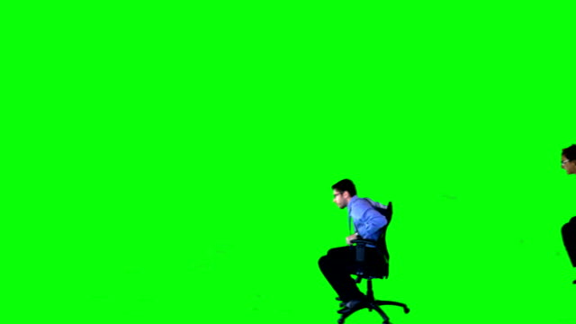 Racing Office Chairs on a Green Screen