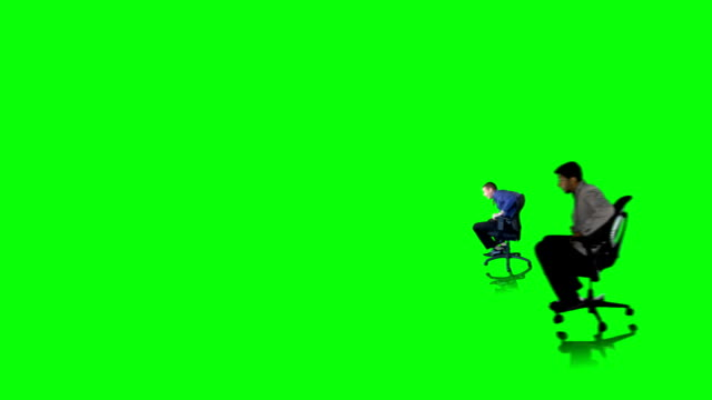 Racing Office Chairs on Green with Depth