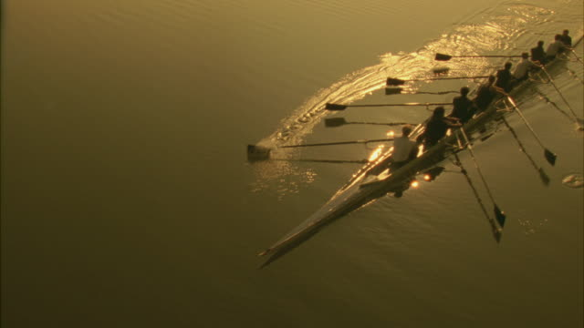 A racing team rowing a boat across a lake.