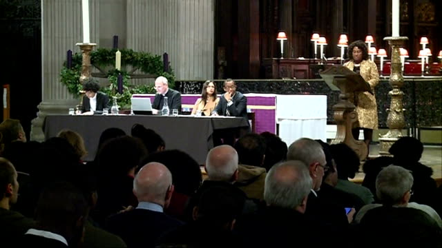 50th anniversary of martin luther king speech at st paul's cathedral; 4.12.2014 st paul's cathedral: int congregation gathered in cathedral baroness... - baroness stock videos & royalty-free footage