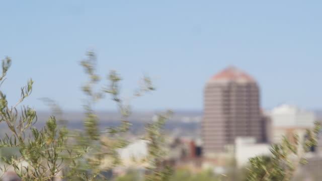 Rack focus, buildings in Albuquerque