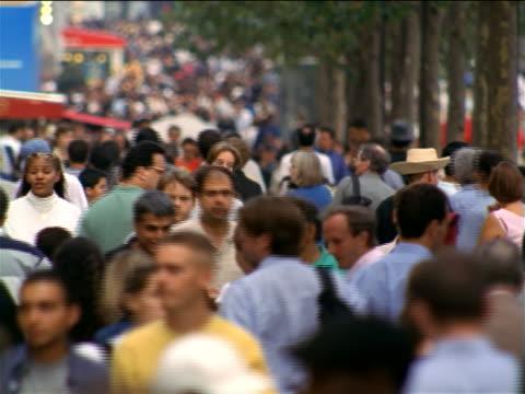 rack focus crowd walking on tree-lined sidewalk of Champs-Elysees / Paris, France