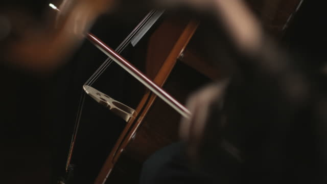 rack focus from bass and cello in the background to a violin in the foreground - orchestra stock videos & royalty-free footage