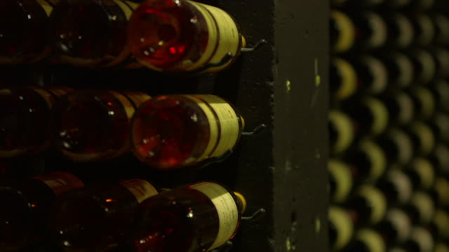 Rack focus inside large wine cellar from red to rosé