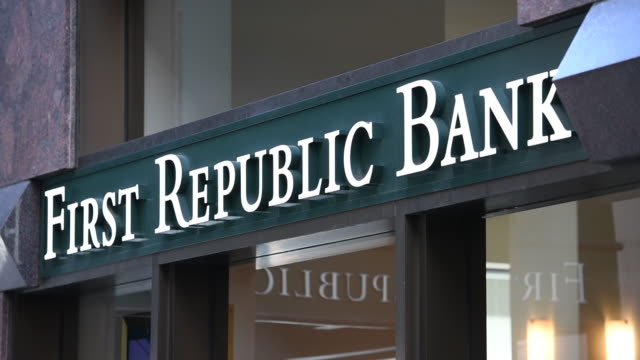 Rack focus of First Republic Bank sign in San Francisco California on Friday March 31 2017
