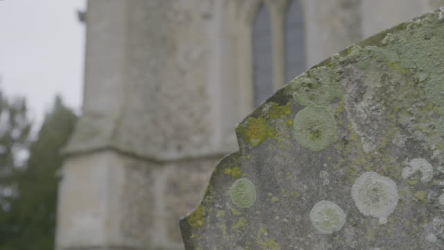 rack focus shot of a mossy tomb in the graveyard the church of st mary in troston - moss stock videos & royalty-free footage