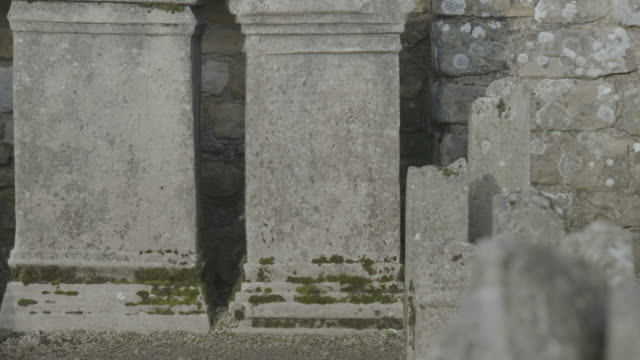 rack focus shot of the altars in the temple of mithras at carrawburgh fort - moss stock videos & royalty-free footage