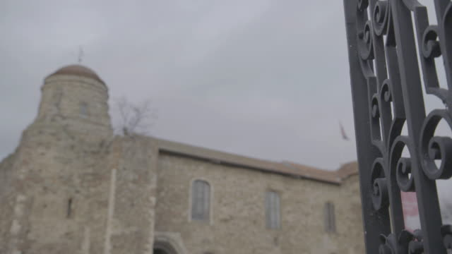 rack focus shot of the colchester castle from the main entrance - national flag stock videos & royalty-free footage