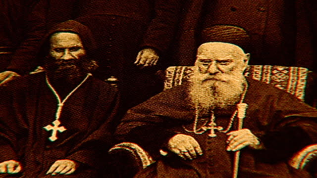 rack-focus of photograph of patriarch elias boutros hoayek sitting in the front middle. he was the 72nd maronite patriarch of antioch from 1899 to... - 1899 stock videos & royalty-free footage