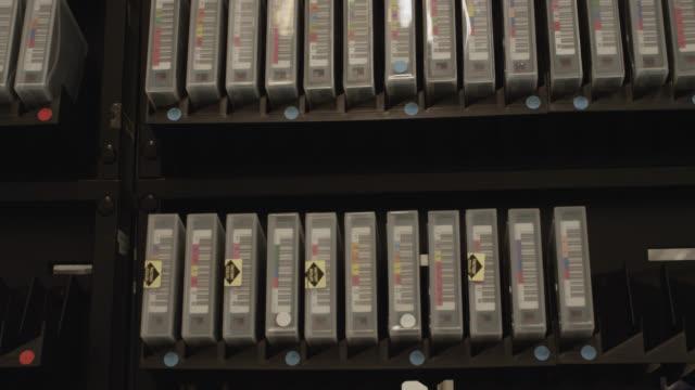 Racks of digital data tape, UK
