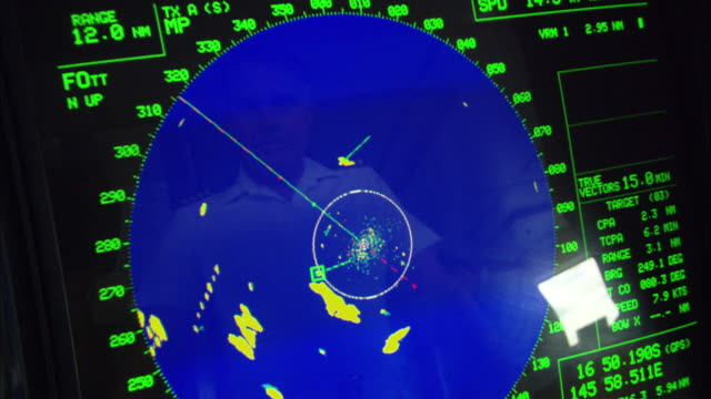 CU Radar machine tracking multiple ships in ocean, Cairns, Queensland, Australia