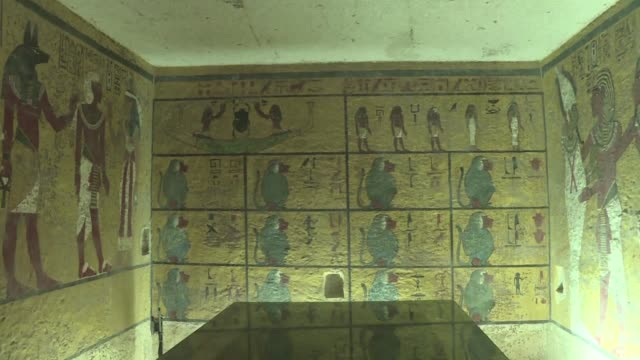 radar scans of the tomb of pharaoh tutankhamun in the ancient necropolis of luxor showed a more than 90 percent chance of two hidden chambers... - antiquities stock videos & royalty-free footage