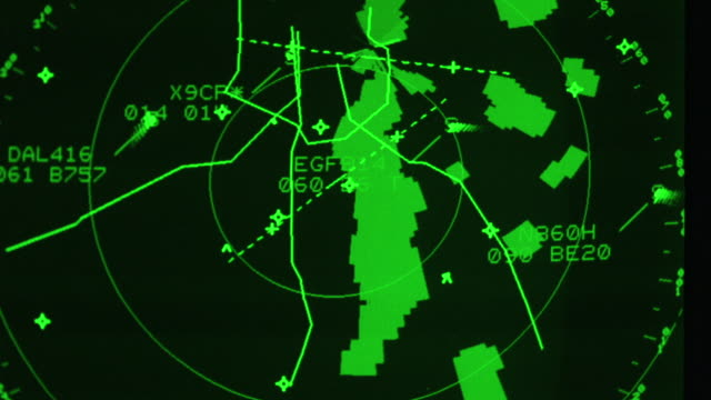 A radar screen displays flight positions.