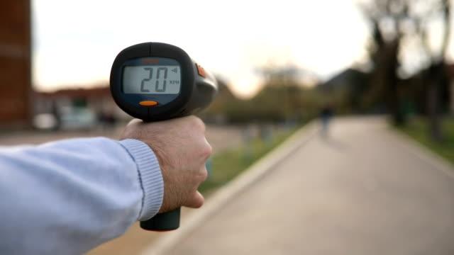 Radar speed gun measuring speed of the bicycle