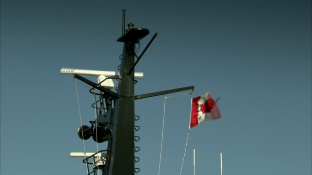 Radars spin on a Canadian ship. Available in HD.