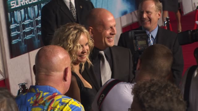 radha mitchell bruce willis at the 'surrogates' premiere at hollywood ca - bruce willis stock videos and b-roll footage