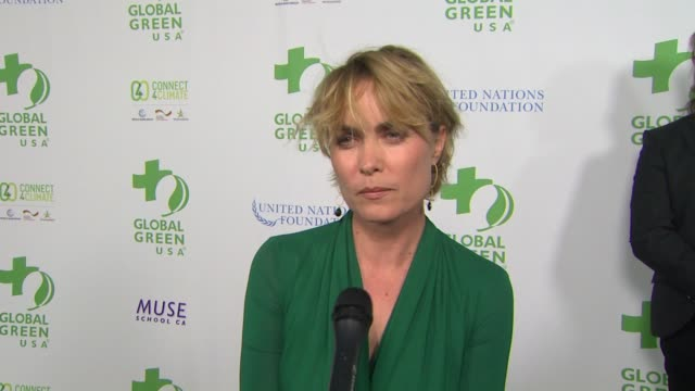 vídeos de stock, filmes e b-roll de inteview radha mitchell on the event at global green usa 13th annual preoscar® party in los angeles ca - global green usa