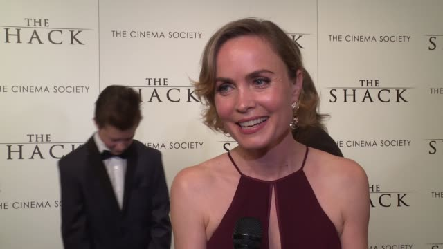 INTERVIEW – Radha Mitchell on working with Sam Worthington on what this movie brings to an audience at The World Premiere Of The Shack at MOMA on...
