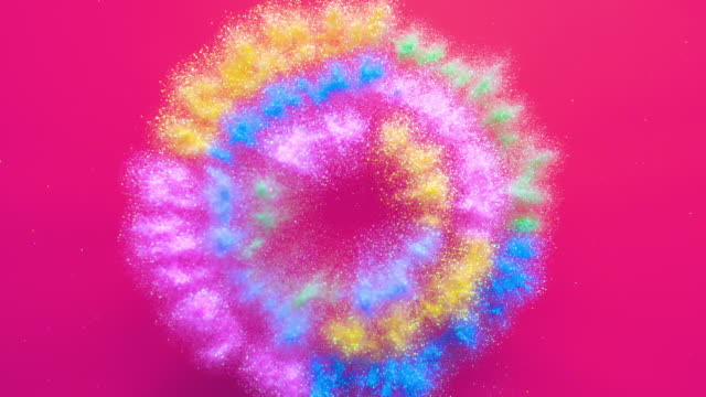 radial circle shapes made with multi pastel colored powder exploding towards camera and becoming defocused on pink background, glittering bokeh - circle stock videos & royalty-free footage