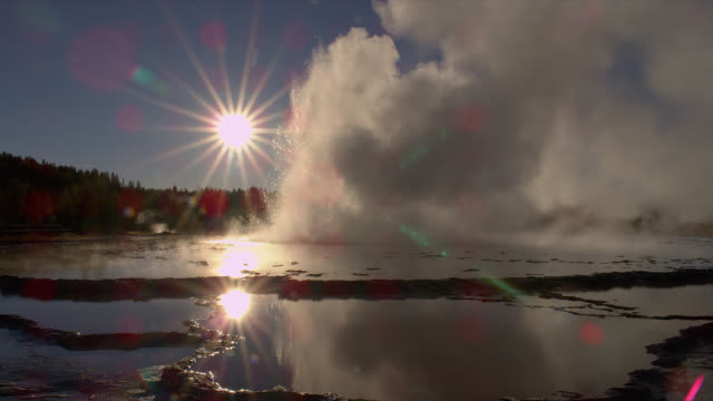radiant sunbeams glow above the great fountain geyser as it erupts in yellowstone national park's lower geyser basin. - geyser video stock e b–roll