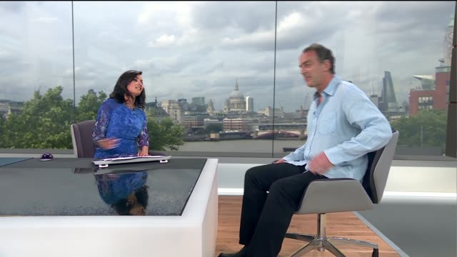 'radio active' comedy show to play at southbank festival: angus deayton interview; england: london: gir: int angus deayton live studio interview sot - angus deayton stock videos & royalty-free footage