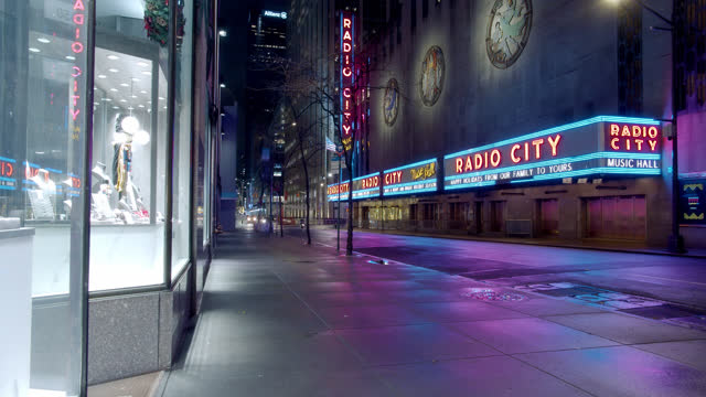 radio city hall. new york night street. - radio city music hall stock videos & royalty-free footage