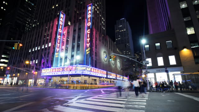 radio city music hall - time lapse - radio city music hall stock videos & royalty-free footage