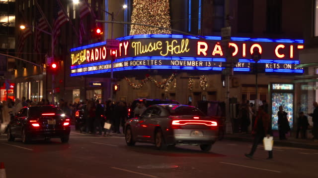 radio city music hall (night exterior) - radio city music hall stock videos & royalty-free footage
