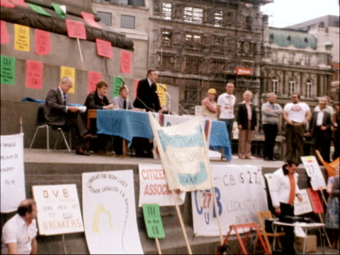 cb radio enthusiasts demonstrate in trafalgar square england london gv rally at trafalgar square ls speaker zoom ms buzby banner downing st ms giant... - postcard stock videos and b-roll footage