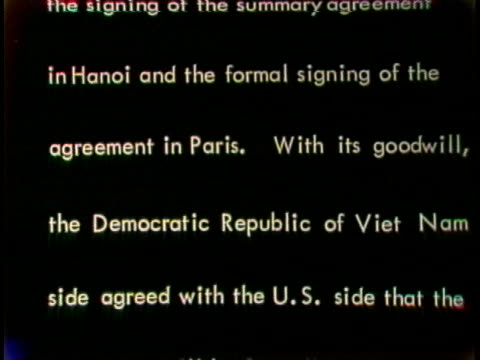 radio hanoi announces a peace treaty between the us and north vietnam. - scrolling stock videos & royalty-free footage