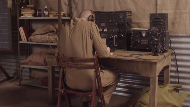 ms pan ww2 radio operator receiving message / horsham, west sussex, united kingdom - fan enthusiast stock videos & royalty-free footage