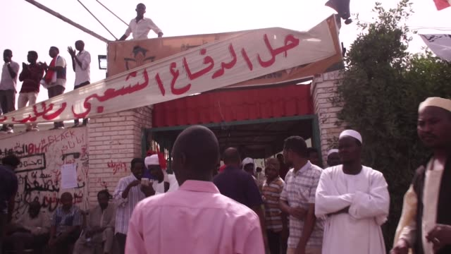 Radio station of the revolution in Khartoum broadcasting messages to the crowds as they protest for a civilian Government after President Omar...