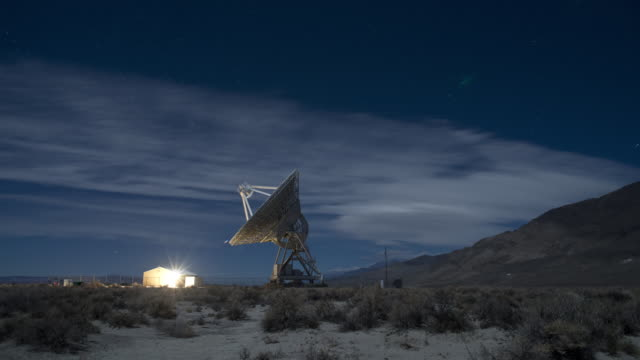 Radio Telescope and stars , Eastern Sierra, California, USA