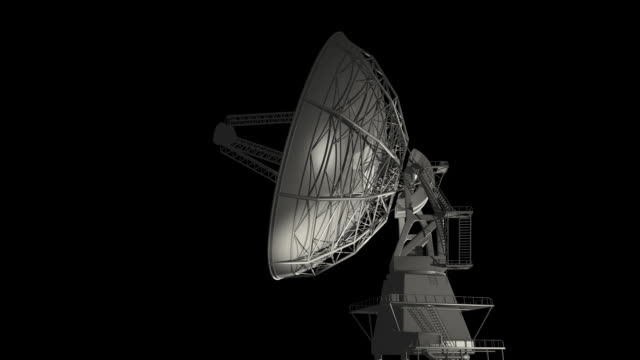 radio telescope on black render - matte stock videos & royalty-free footage