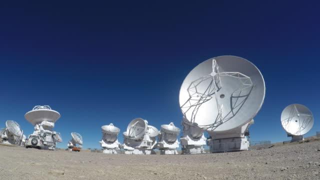 radio telescopes pointing to the deep space in atacama desert - antofagasta region stock videos and b-roll footage
