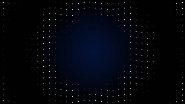 vídeos de stock, filmes e b-roll de partículas de tela led de onda de rádio 4k. animação de luz do circuito. loopable. - onda radiofônica