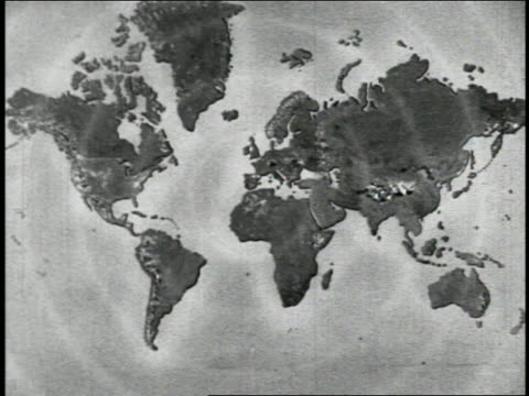 B/W radio waves emitting from North Africa on relief map of world / newsreel