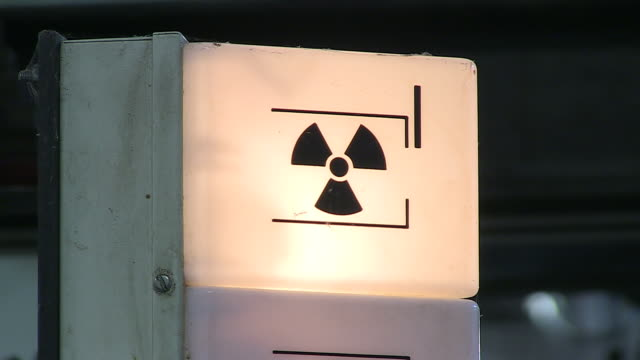 CU Radioactive sign of paper machine in paper mill / Gmund, Bavaria, Germany
