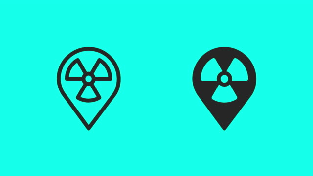 radioactive zone icons - vector animate - map pin icon stock videos and b-roll footage