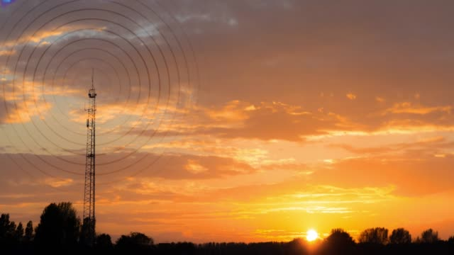 radiowave visualisation at sunset - antenna aerial stock videos & royalty-free footage
