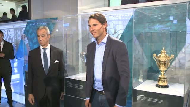 Rafa Nadal attends a meeting at Telefonica Flagship Store