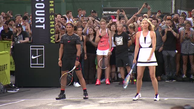 rafael nadal and maria sharapova at nike's nyc street tennis event at tbd on august 24 2015 in new york city - maria sharapova stock videos and b-roll footage
