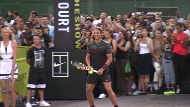 Rafael Nadal at Nike's NYC Street Tennis Event at TBD on August 24 2015 in New York City