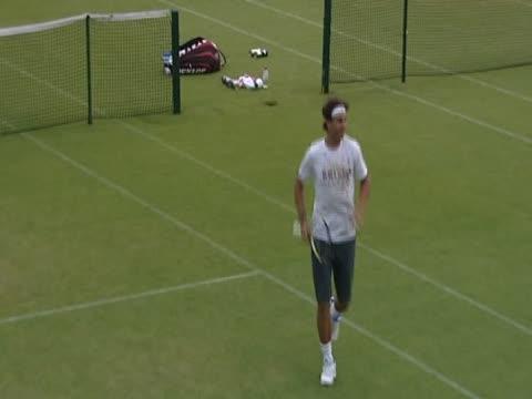 Rafael Nadal practising at Wimbledon
